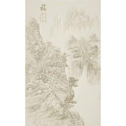 Papier peint asiatique format vertical effet bas relief sculpté, couleur unie - Paysage de la montagne