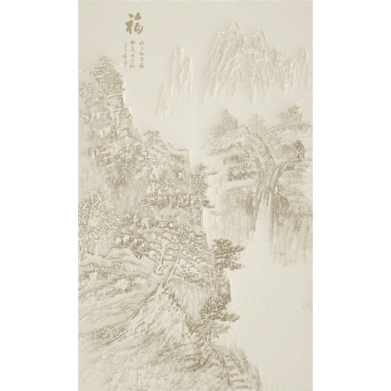 papier peint 3d effet bas relief sculpt tapisserie asiatique paysage de la montagne couleur. Black Bedroom Furniture Sets. Home Design Ideas