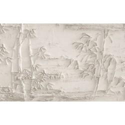 Papier peint 3D trompe l'œil effet bas relief couleur beige - Les bambous sculptés sur mur brut