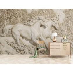 Papier peint 3D trompe l'œil effet bas relief sculpté - Les chevaux courent en toute vitesse