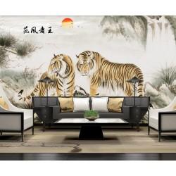 """Peinture traditionnelle chinoise papier peint d'artiste thème """"animaux"""" - Deux tiges dans la montagne"""