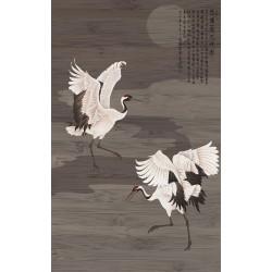 """Panneau japonais thème """"oiseau"""" format vertical, effet sur bois foncé - Les grues du Japon s'envolent dans la nuit"""