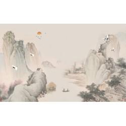 Paysage asiatique - Village montagneux au bord de la rivière