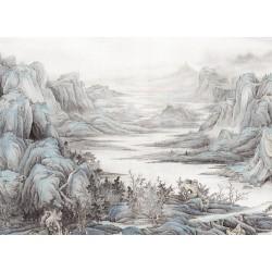 Tapisserie asiatique zen - Paysage de la montagne, couleur gris, blanc et bleu