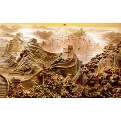 Tapisserie paysage asiatique trompe l'oeil 3D effet bas relief - La grande muraille