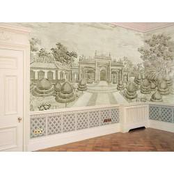 Tapisserie vintage papier peint d'artiste ancien paysage niveau gris - Palais impérial