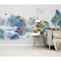Papier peint japonais paysage zen - Temple caché dans la montagne, ton bleu