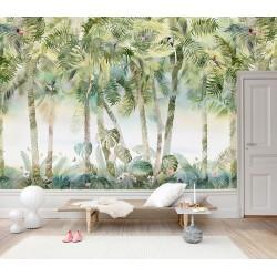 Tapisserie tropicale couleur légère - Oiseaux dans les palmiers, papillons dans le buisson avec les fleurs