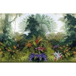 Papier peint d'artiste paysage de la jungle - Les plantes et les fleurs tropicales, format panoramique