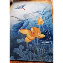 Tapis laine asiatique zen tufté à la main  - Les lotus jaunes et l'oiseau dans la nuit