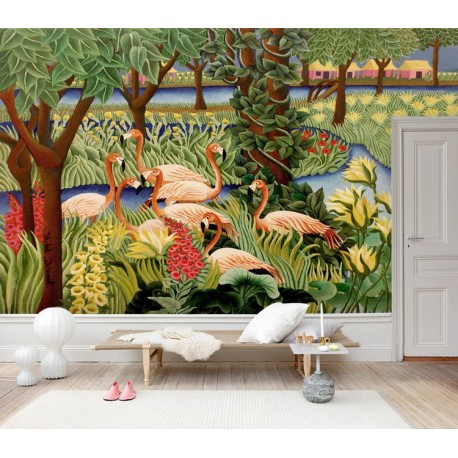 t te de lit tropical papier peint oiseau fleur tapisserie panoramique. Black Bedroom Furniture Sets. Home Design Ideas