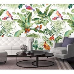 Les oiseaux exotiques, les feuilles de bananier et palmier sur fond blanc