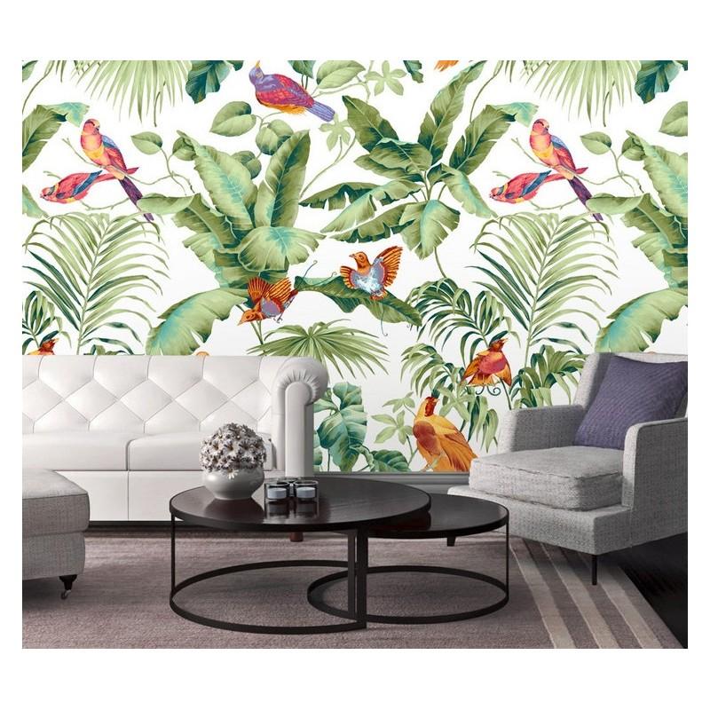 Papier Peint Panoramique Tropical Oiseau Bananier Palmier   Papier