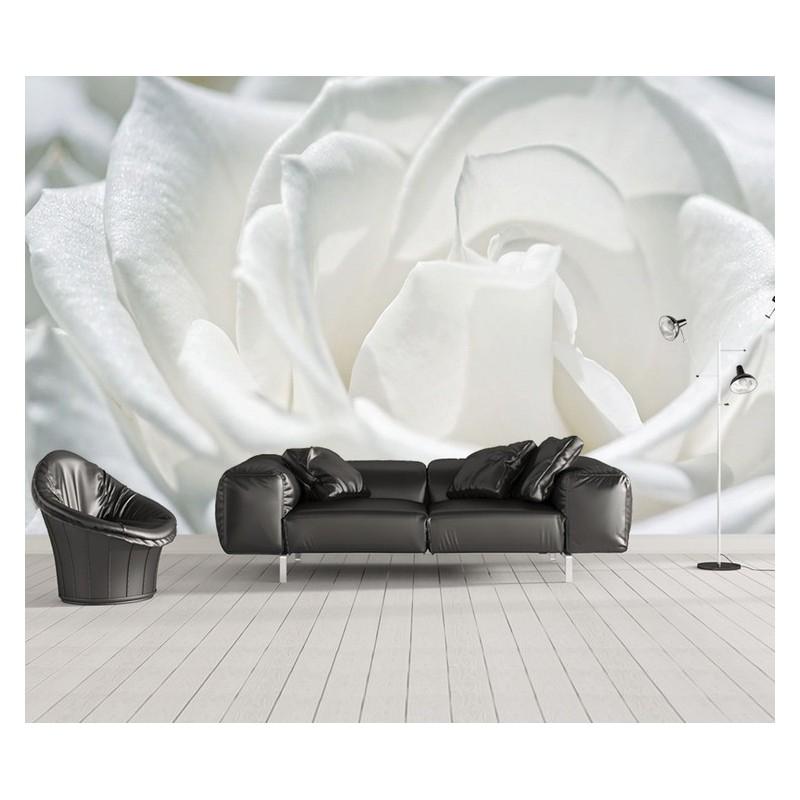 Macrophoto Fleur Tapisserie Sejour Le Unique Rose Blanche Atelier Wybo