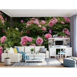 Mur floral - Les pivoines roses