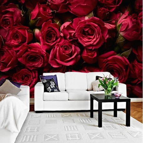 Papier peint photo floral - Les roses rouges