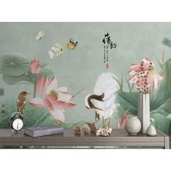 Tapisserie asiatique fleurs et oiseaux - Lotus roses et grue du Japon
