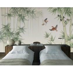 Tapisserie asiatique couleur légère - Les bambous et les oiseaux