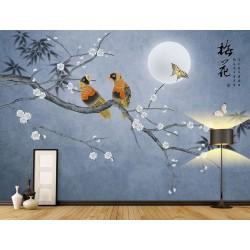 Peinture asiatique zen fleurs et oiseaux - Fleur de mei, bambou et oiseaux dans la nuit