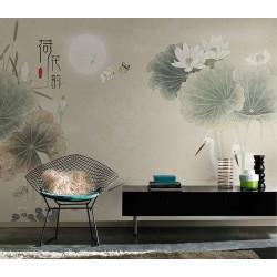 Peinture à l'encre de Chine couleur légère - Lotus blancs et aigrettes dans la nuit