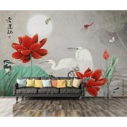 Peinture chinoise fleurs et oiseaux - Les lotus rouges et les oiseaux dans la nuit