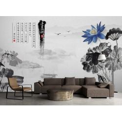 Paysage asiatique en noir et blanc avec lotus bleu