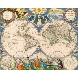 Vieille carte mondiale No. 2 avec fresque murale ancienne