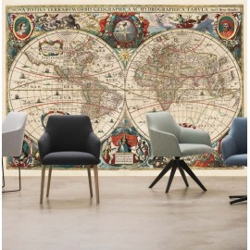 Vieille carte mondiale No. 3 avec fresque murale ancienne