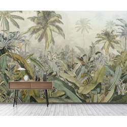 Tapisserie tropicale issue d'un tableau d'artiste - Palmiers et bananiers dans la jungle, effet sépia