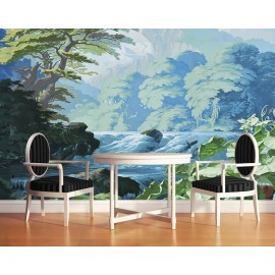 Tapisserie tropicale issue d'un tableau d'artiste - Rivière dans la forêt, ton vert bleu