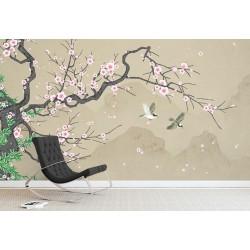 Peinture japonaise zen - Fleurs de cerisier et oiseaux sur fond beige