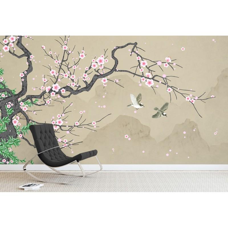 Papier Peint Japonais Fleur Oiseau Tapisserie Murale Sejour Cerisier