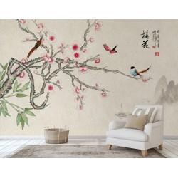 Peinture asiatique zen fleurs et oiseaux - Paysage avec les fleurs d'abricotier japonais et les oiseaux