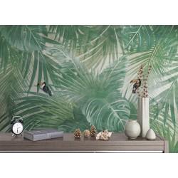 Tapisserie tropicale - Feuilles de palmier et toucans