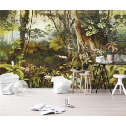 Tapisserie tropicale issue d'un tableau d'artiste - Plantes sous bois dans la jungle