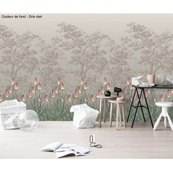 Papier peint d'artiste - Les fleurs sauvages dans la forêt, 3 couleurs de fond au choix