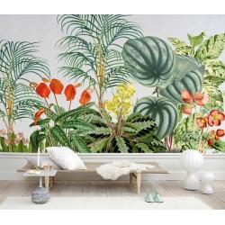 Tapisserie tropicale - Palmier plantes et fleurs exotiques, effet sur mur en béton blanc