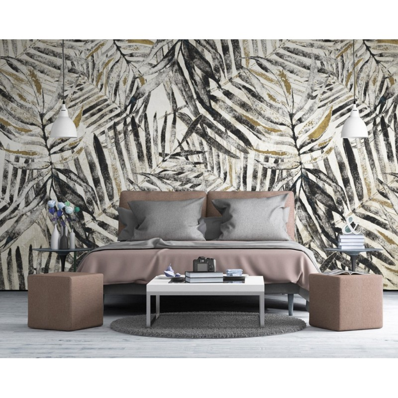 panneau mural imprim tropical palmier niveau de gris papier peint sol 3d. Black Bedroom Furniture Sets. Home Design Ideas