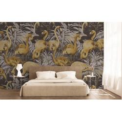 Oiseau tropical - Flamants roses dans l'eau avec les plantes, ton gris marron doré