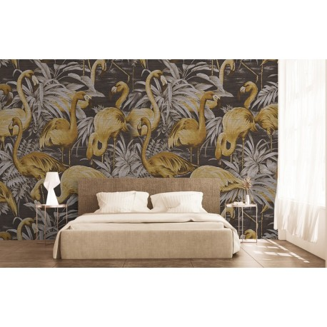 oiseau tropical flamant rose tapisserie marron dor papier peint sol 3d. Black Bedroom Furniture Sets. Home Design Ideas