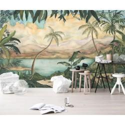 Papier peint d'artiste - Cocotiers et bananiers au bord du lac