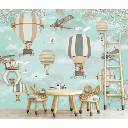 Papier peint tête de lit chambre enfant couleur légère - Montgolfières, avions et animaux dans le ciel
