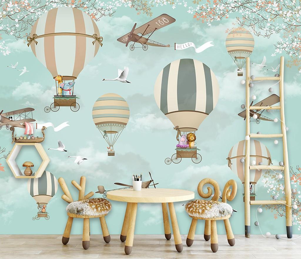 montgolfière avion animaux décoration murale panoramique xxl bébé enfant -  Atelier WYBO