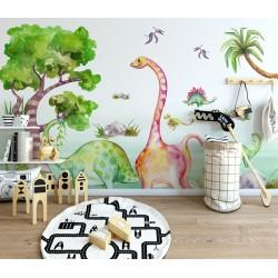 Dessin aquarelle grand format chambre bébé - Les dinosaures