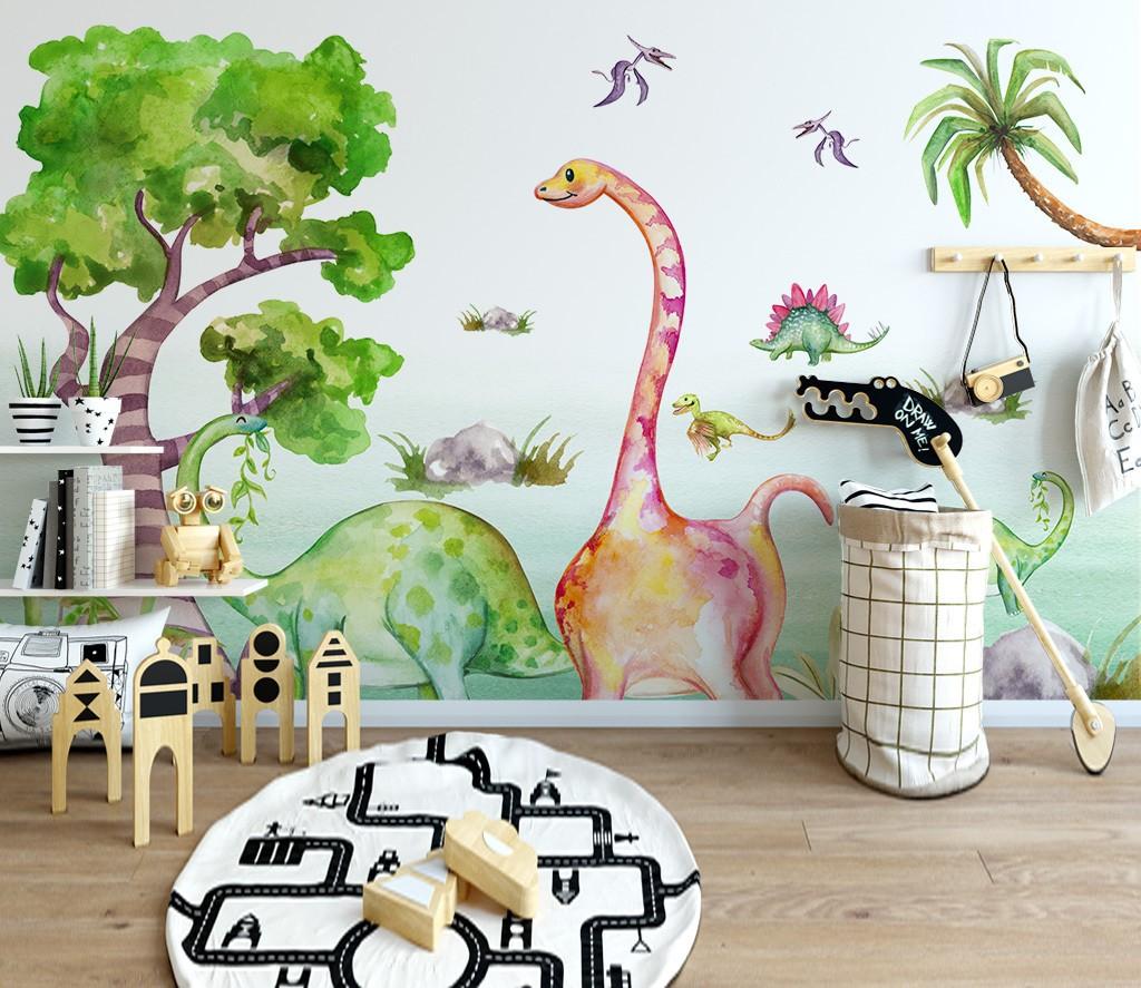 décoration chambre bébé enfant papier peint dinosaure poster géant xxl -  Atelier WYBO
