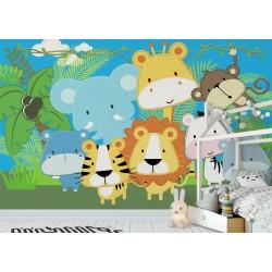 Papier peint animaux chambre bébé - Lion tigre girafe éléphant hippopotame zèbre singe rhinocéros