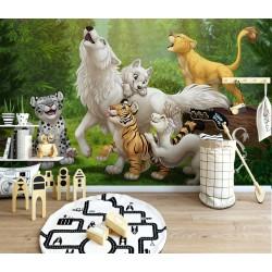 Bébé animaux dans la forêt - Loup blanc, tigre, lion, panthère de neige, dragon blanc