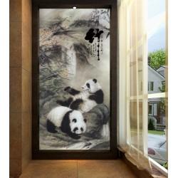 Peinture chinoise en noir et blanc format vertical - Les pandas jouent devant la chute d'eau