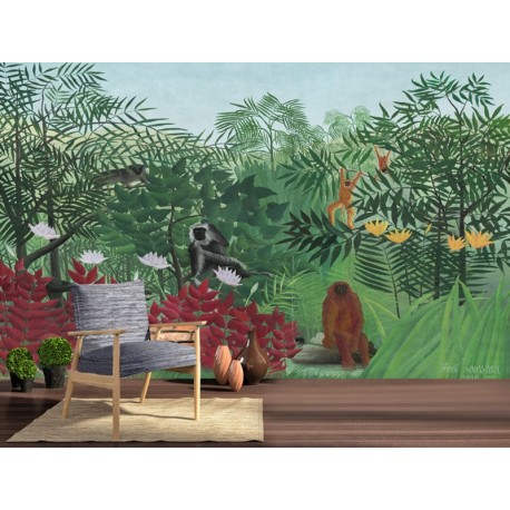 papier peint panoramique personnalis paysage jungle tappisserie singe papier peint sol 3d. Black Bedroom Furniture Sets. Home Design Ideas