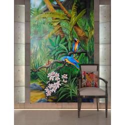 Paysage tropical format vertical - Les perroquets dans la jungle avec les orchidées